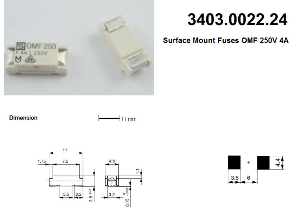 SMD Fuses OMF 3403.0022.24  4A 3A 250V 11X4.66mm