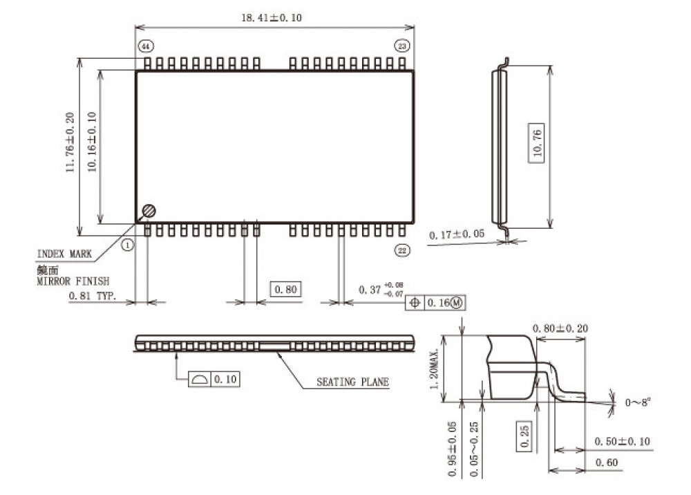 SMD K9F1G08U0B-PIB0 TSOP-44/40
