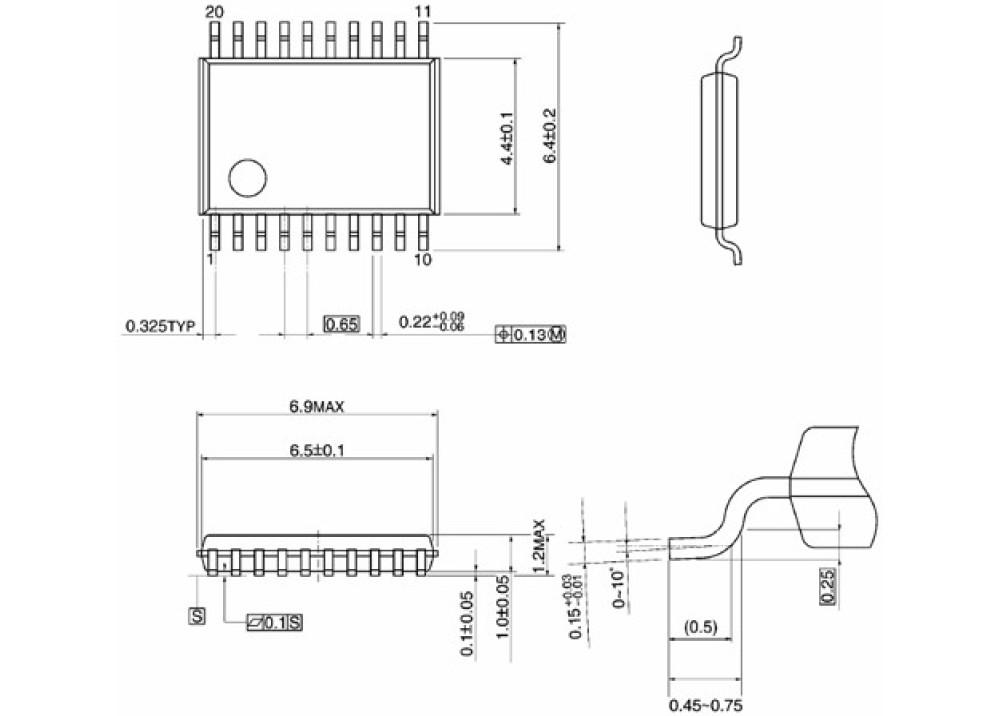 SMD 74LV244PW (4.3mm Width) TSSOP-20