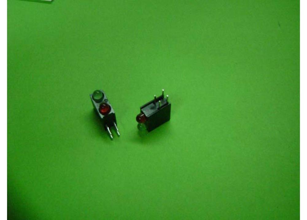 Green & Red Right-angle PCB LED Indicator, 2 LEDs 3mm 4-Pin