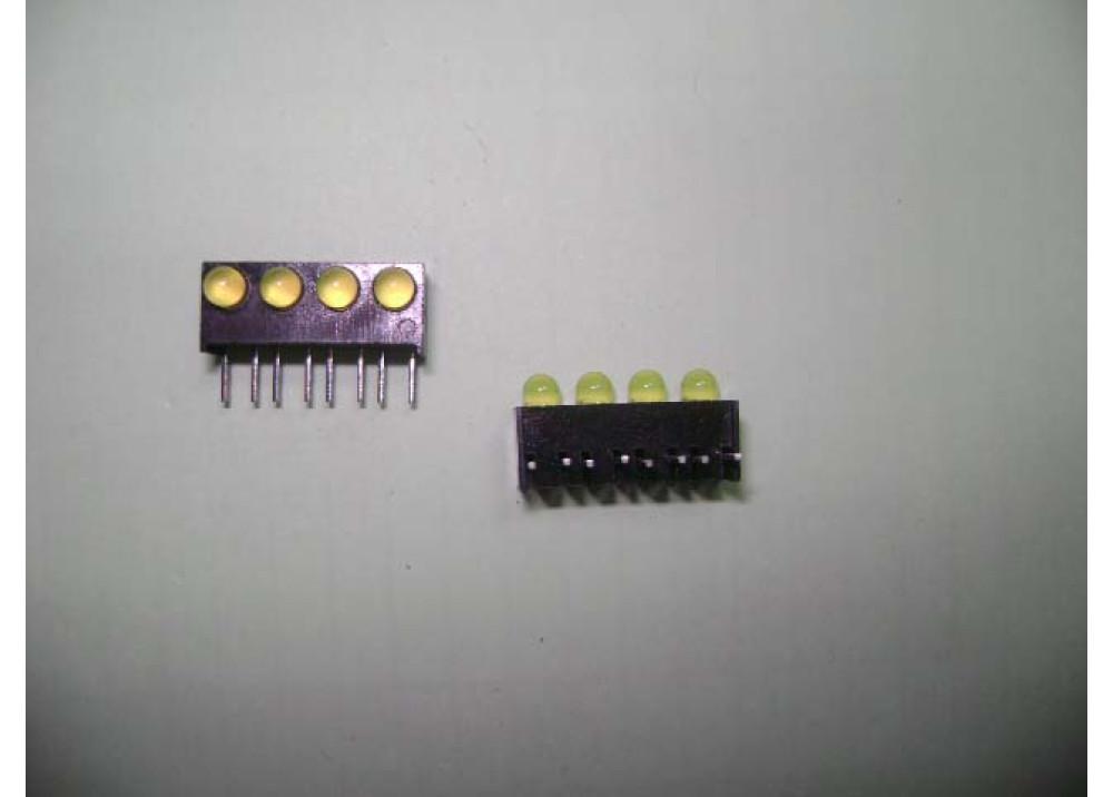 GreenX4 Right-angle PCB LED Indicator, 4 LEDs 3mm 8-Pin