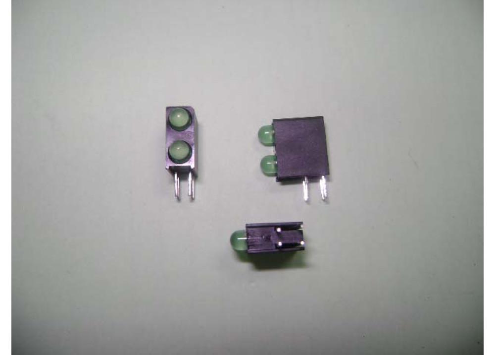 Green & Green Right-angle PCB LED Indicator, 2 LEDs 3mm 4Pin Through-hole, 60 ° 2.8 V
