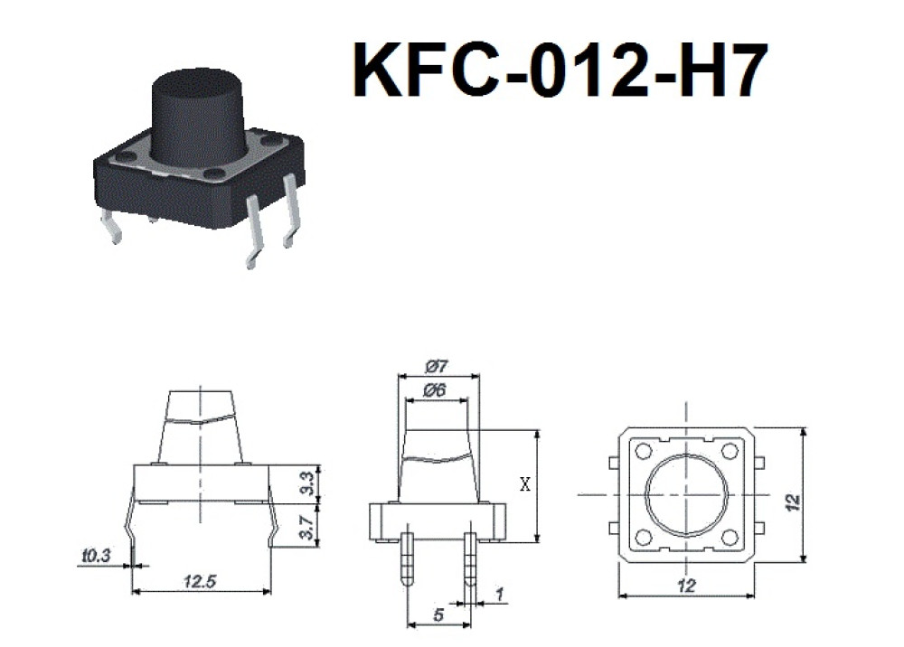 Momentary Push button Tact Switch 12mm 7mm 4P Rounded KFC-012-H7