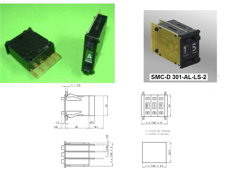 Thumbwheel Switch Hexadecimal SMC-D 301-AL-LS-2