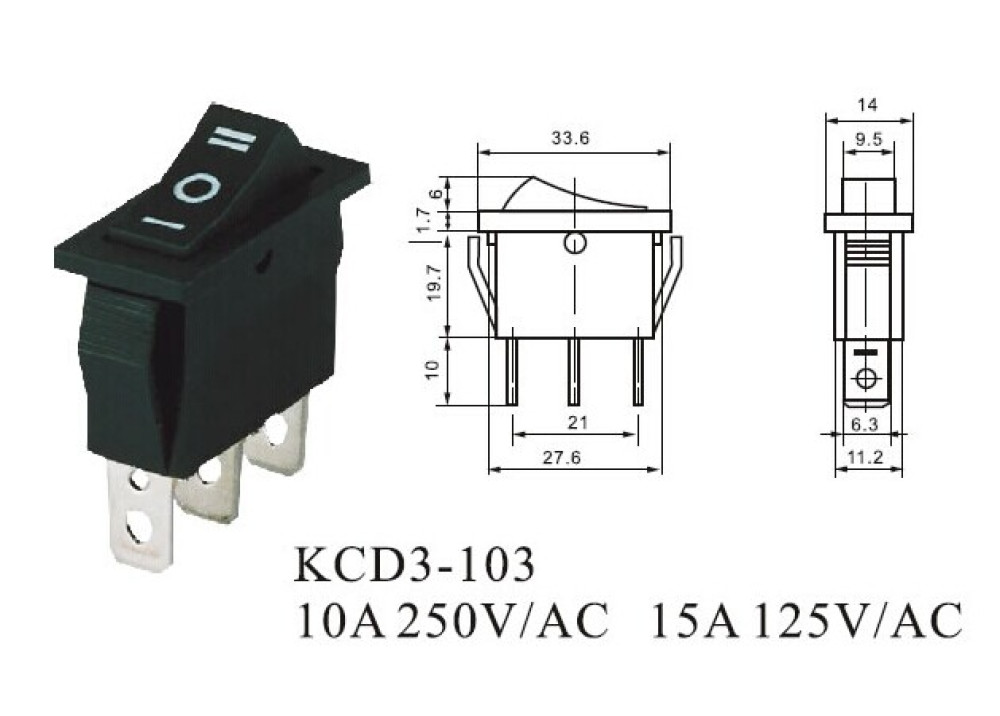ROCKER SW  KCD3-103 Permanent ON OFF ON 15A 250V 3P