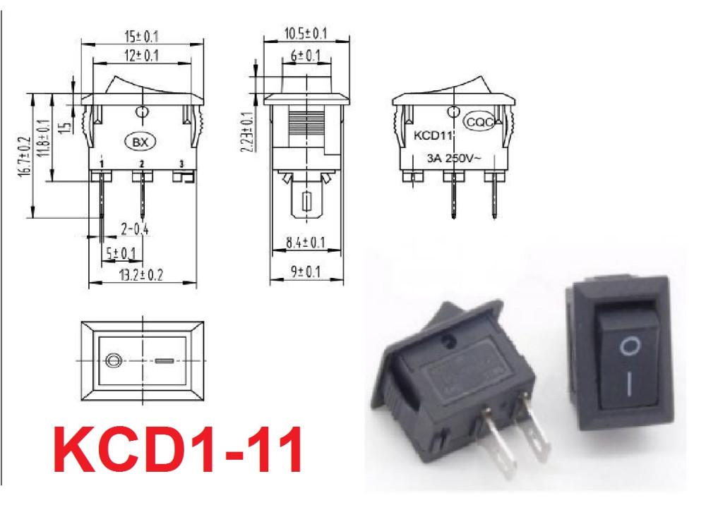 ROCKER SW 2P 3A 250V AC KCD1-11