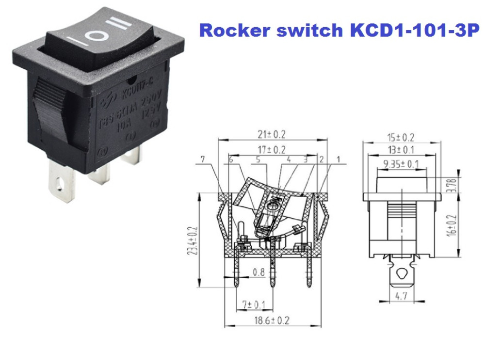 ROCKER SW  KCD1-101-3P Permanent ON OFF ON 15A 250V 3P