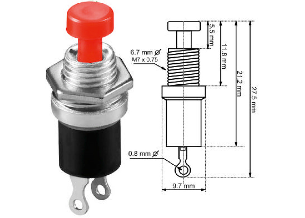PBS-105 250V 1A 7mm Switch Push Round Button RED  2P