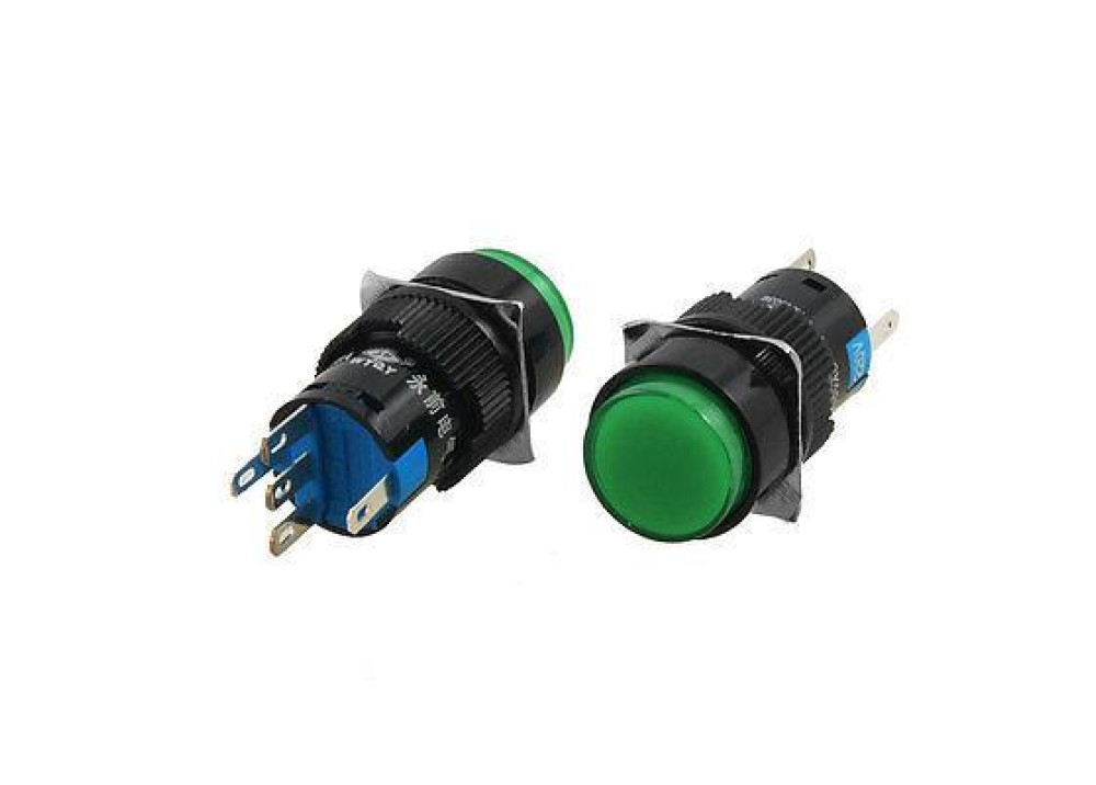 Green  Momentary Push Button Switch Panel 24V 16mm 5P