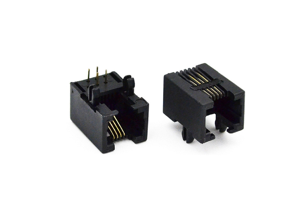 Female PCB Socket Connector Right Angle RJ11 6P/4C
