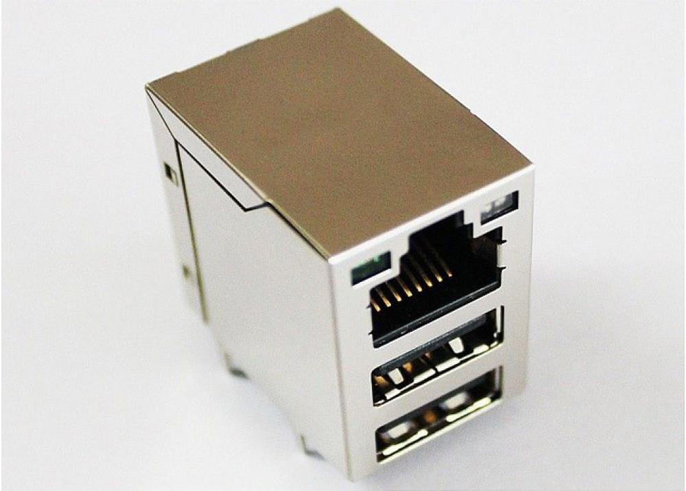 JK USB F PCB DUAL+RJ45 PLUG