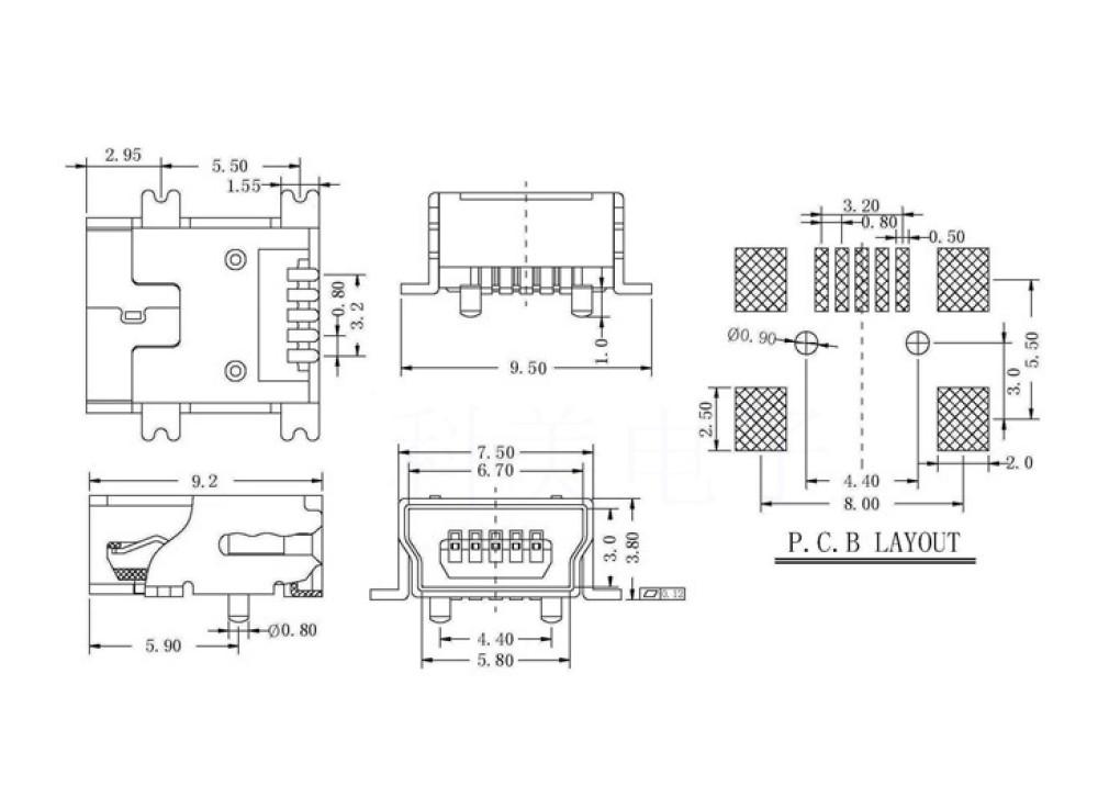 JK SMD Micro Type-B-5-Pin USB Female PCB