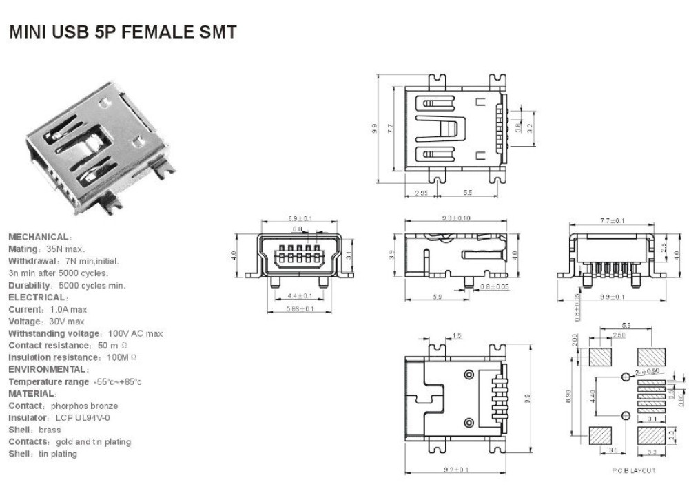 JK SMD MINI Type-B-5-Pin USB Female PCB