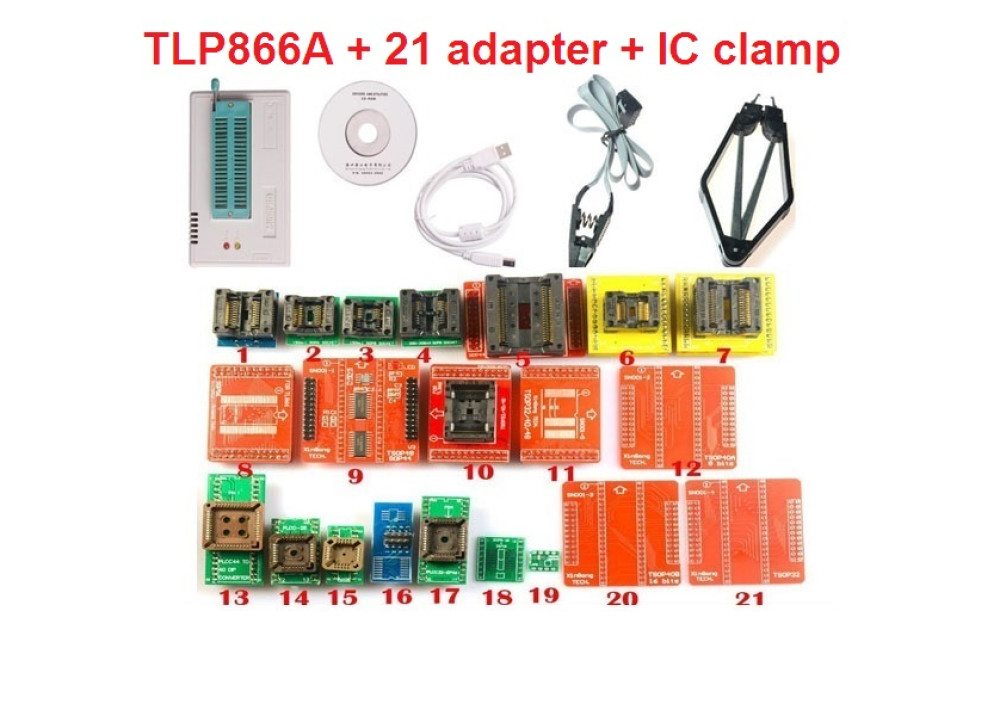Mini Pro TL866A Universal Programmer SPI  With + 21.pcs Adapters