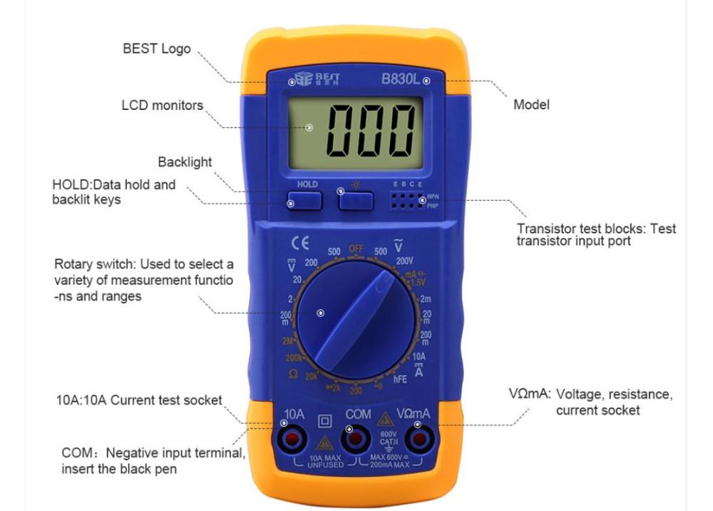 DMM Digital Multimeter Supplier Manual Range Multi-function BEST-B 830L
