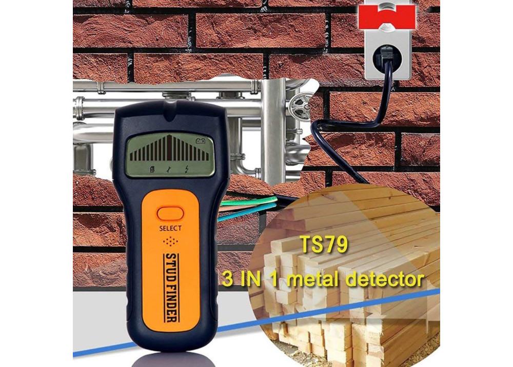TS79 3 In 1 Stud Finder Detector Metal Detector Wood Detector Find AC Voltage Live Detect Wall Scanner Behind Wall with LCD Display