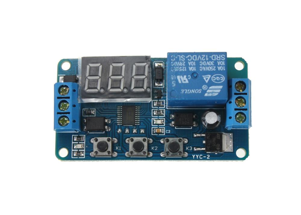 LED Display 12V Digital Programmable Timer Timing Relay Module Self-lock Switch  DK-C-01