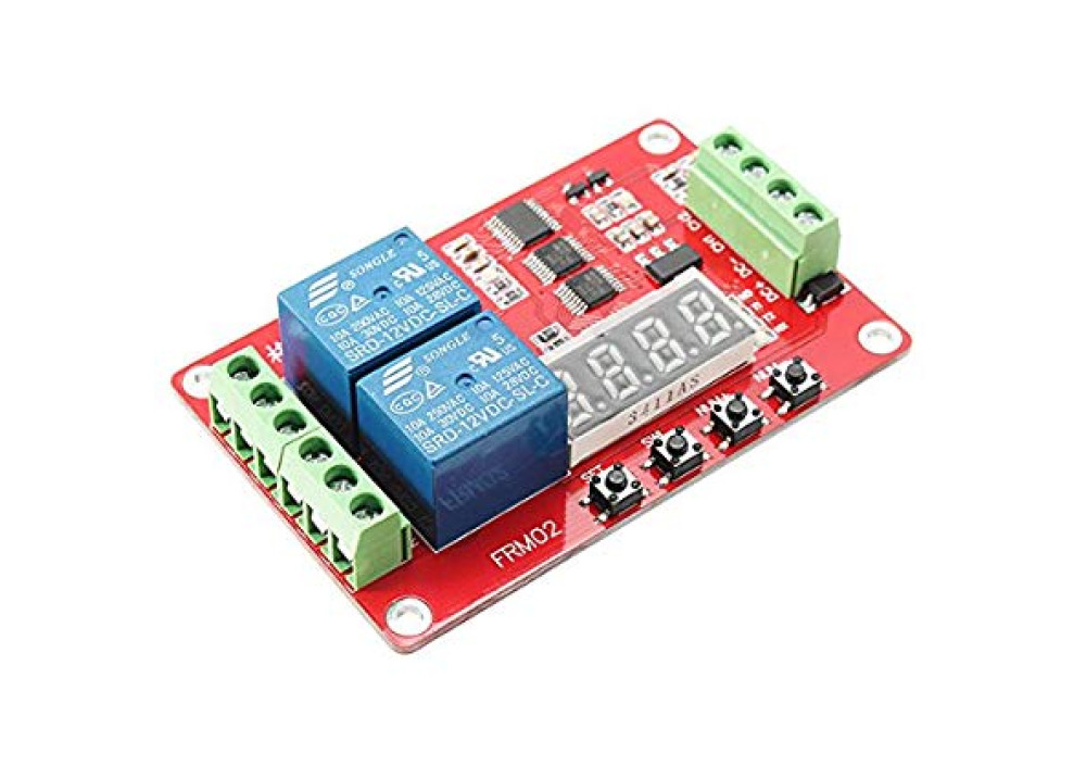 LCD module FRM02 2 channel multifunction relay module / delay cycle / timer / Auto-lock / 5V, 12V 24