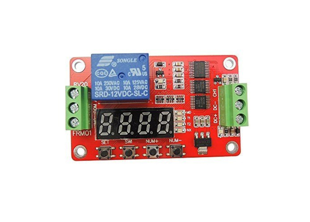 LCD module FRM01 1 channel multifunction relay module / delay cycle / timer / Auto-lock / 5V, 12V 24