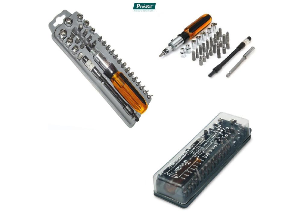 Pro Skit 8PK-204A 33Pcs Reversible Ratchet Screwdriver W/BITS & Sockets Set