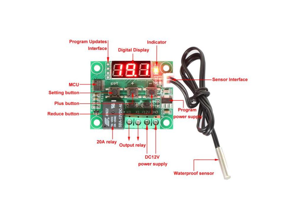 XH-W1209 Thermostat Temperature Control Module Water Heat Control DC12V