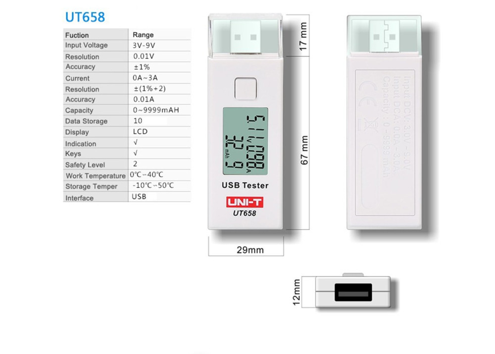 UNI-T UT658 Digital LCD Display USB Tester
