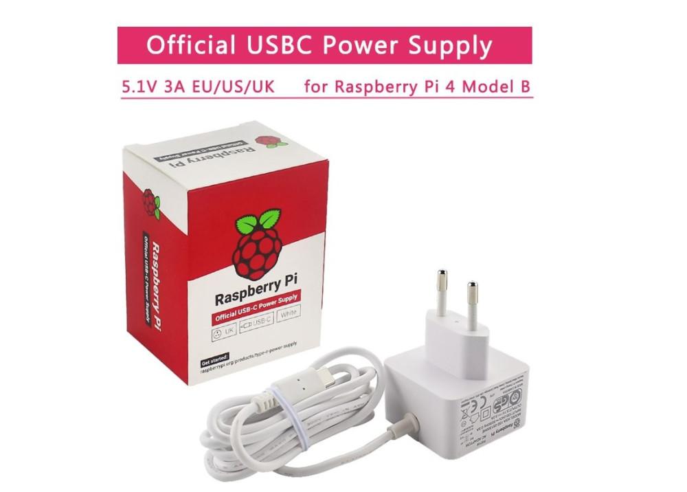 Official Power Adapter 5V 3A USB-C for Raspberry PI 4 PI-PSU-5V3A-USB-C-EU x1