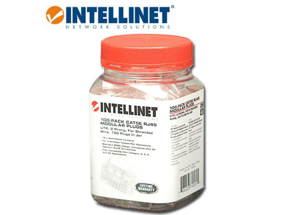 INTELLNET 100-PACK CAT5E RJ45 MODULAR PLUGS