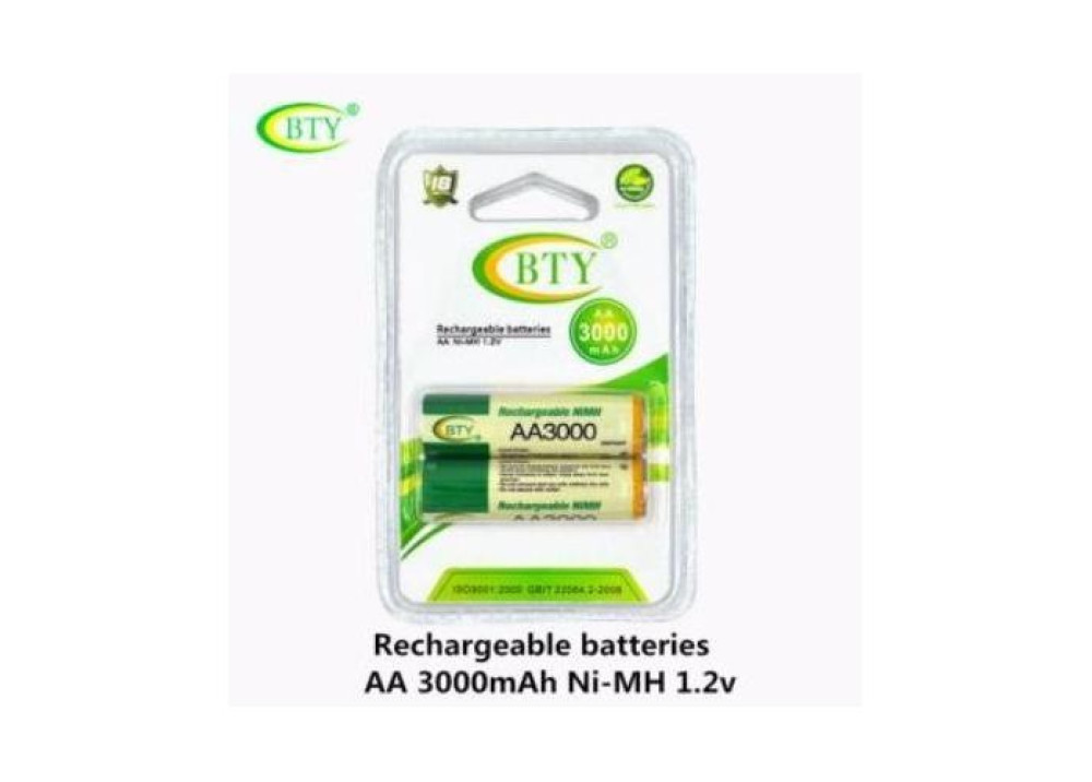 Rechargeable Battery BTY NI-MH   AA 1.2V 3000mAh 2.Pcs