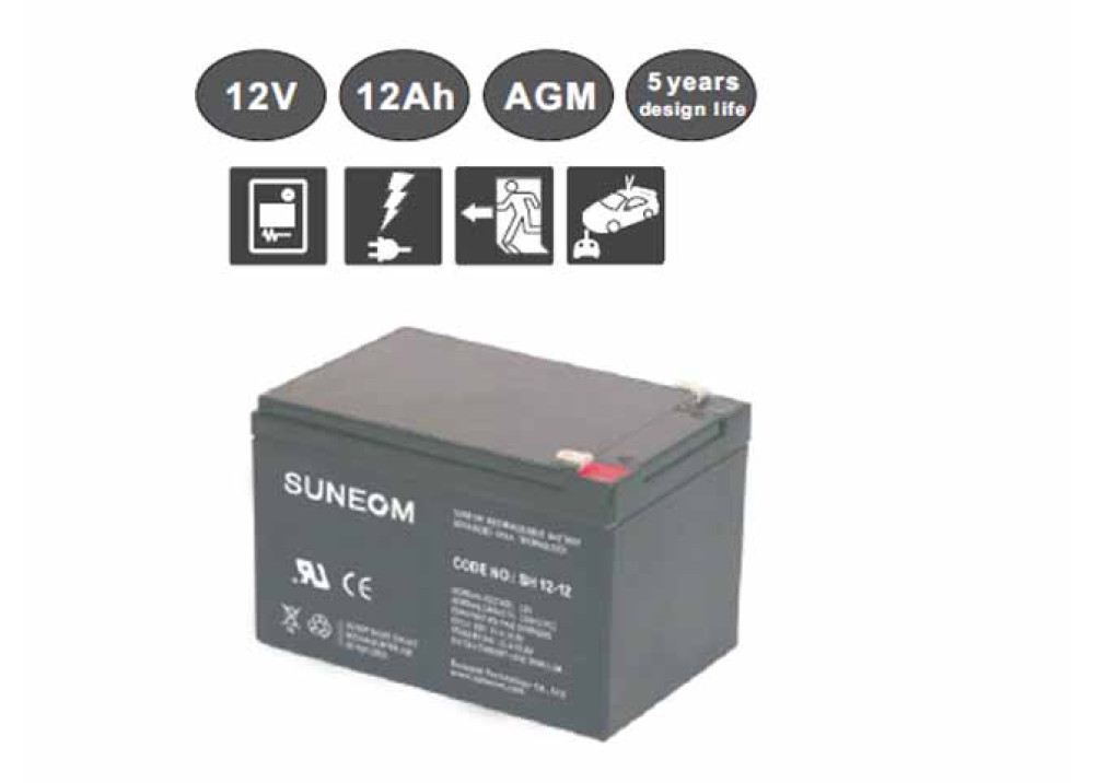 LONG LIFE  BATTERY Suneom 12V 12A