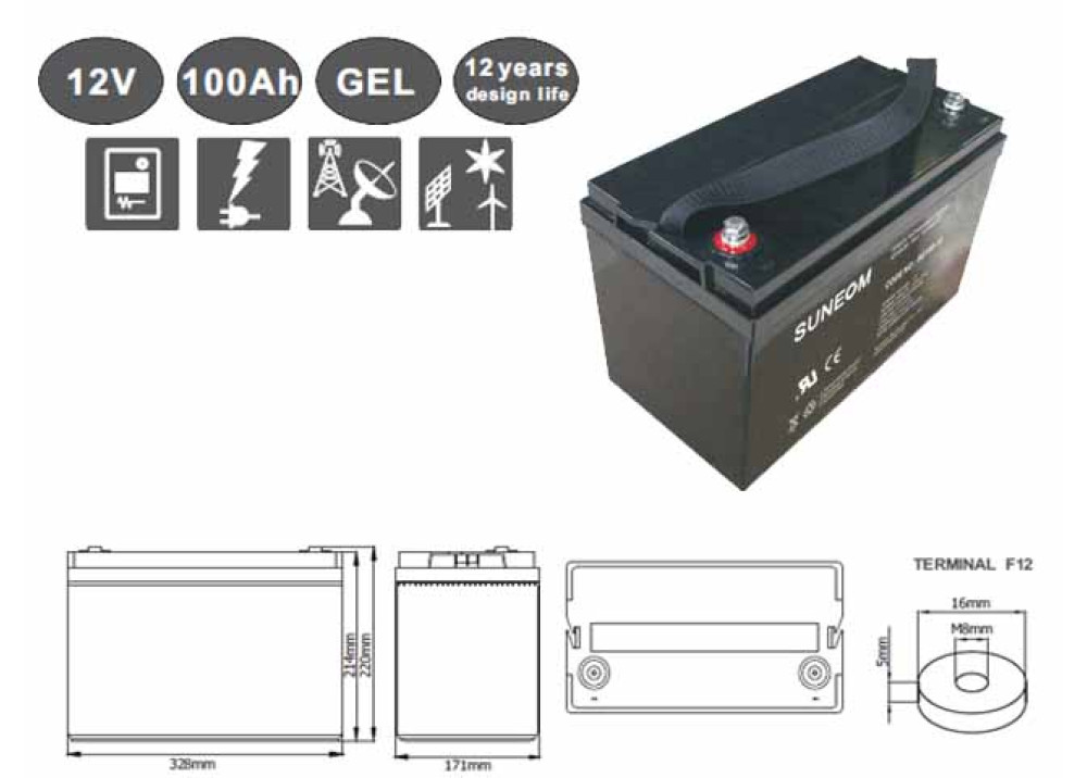 DEEP CYCLE GEL  BATTERY Suneom 12V 100A