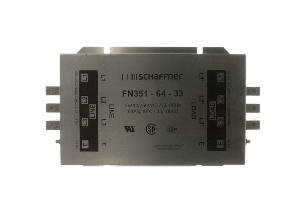 NOISE FILTER FN351-64-33 3X250VAC 64A