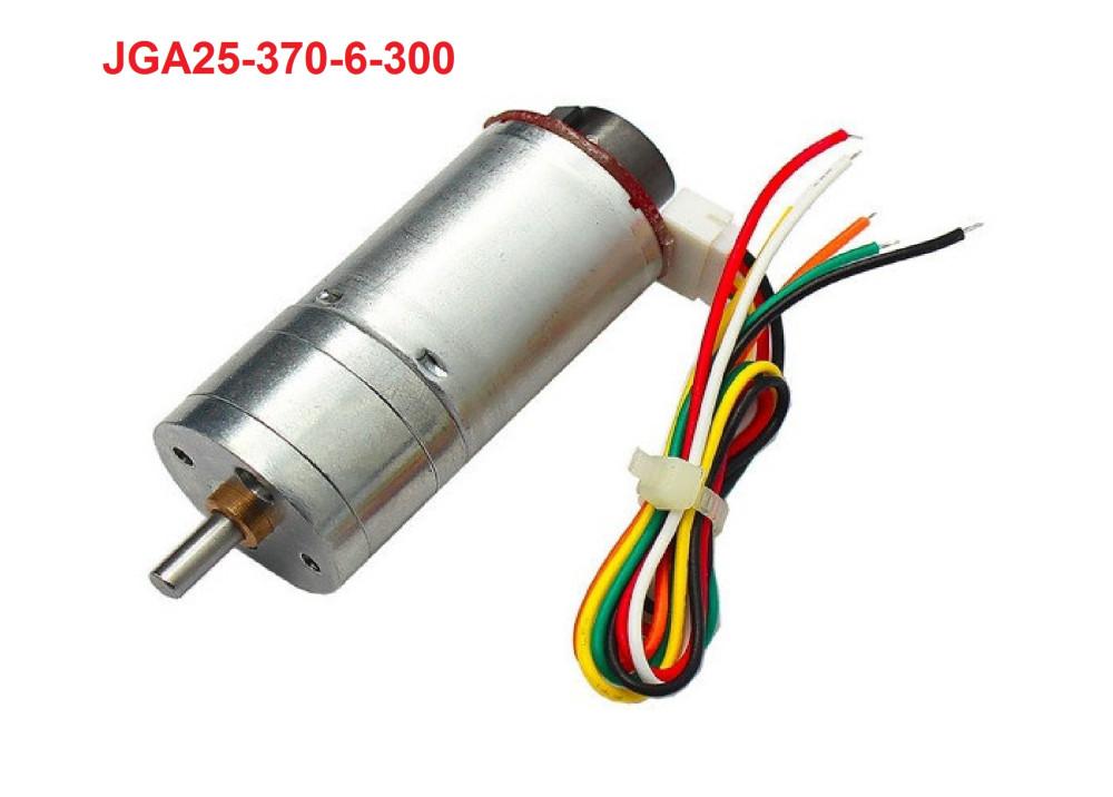 JGA25-370 Gear motor  With Speed Encoder 6VDC 300RPM 25MM