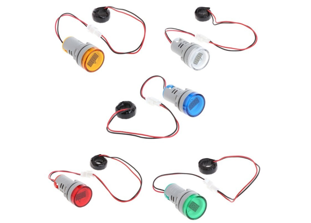 Digital Display 0 ~ 50A AC  Current  Meter Combined Indicator Light 22mm