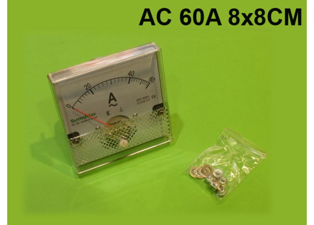 Panel meter AMP 8x8CM 60A AC