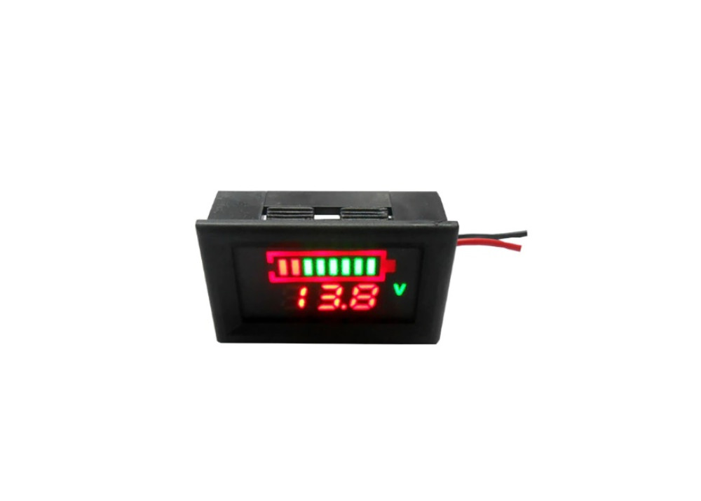 LED 8 Bar Digital Battery Charge Indicator meter with voltage indication 12V