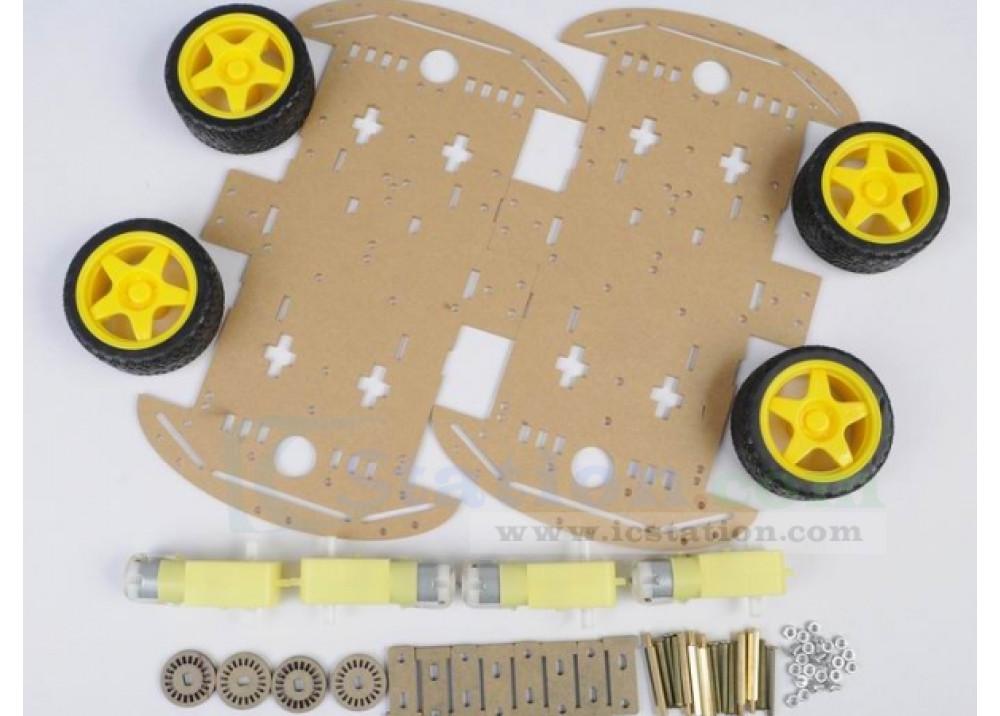 Robot 4Wheels Drive 2XChassis  DIY Ki For Arduino