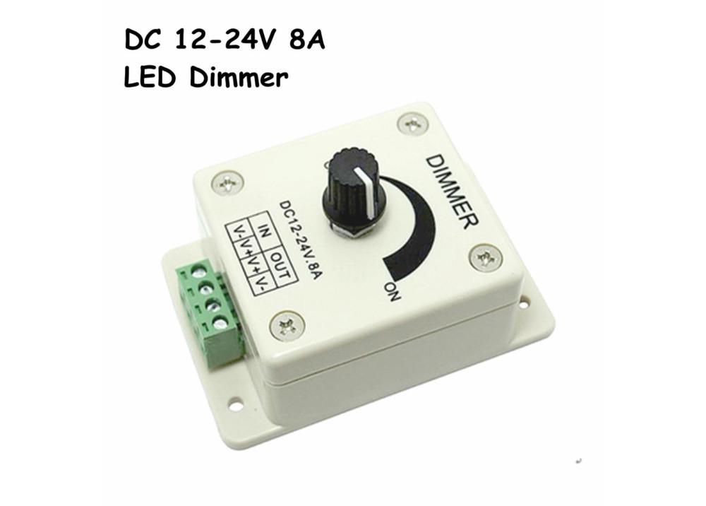 DC 12-24V 8A Light Dimmer Brightness Adjustable Control For Single Color LED Strip
