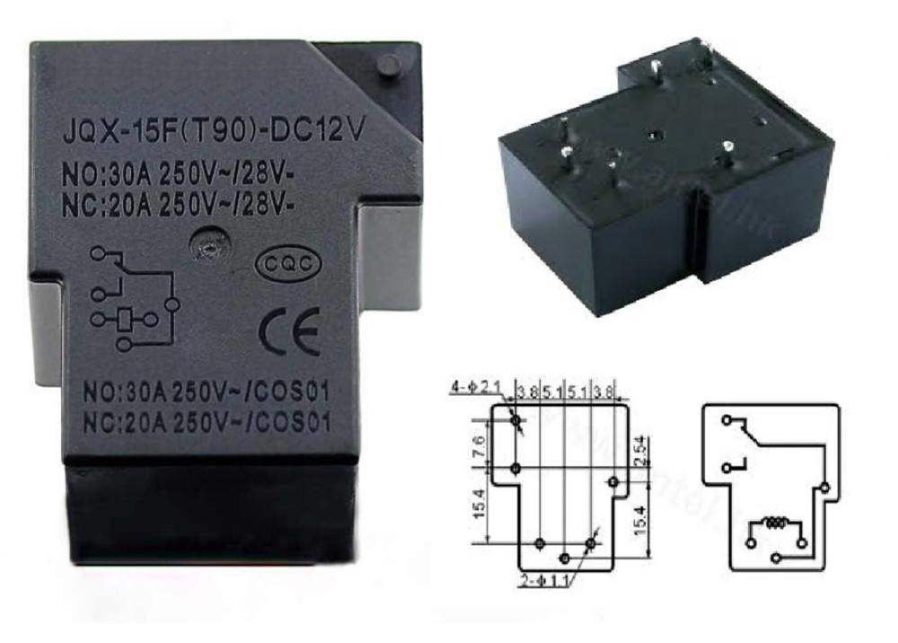 Relay 24V 30A 6P JQX-15F(T90)-30A-1C-DC24V