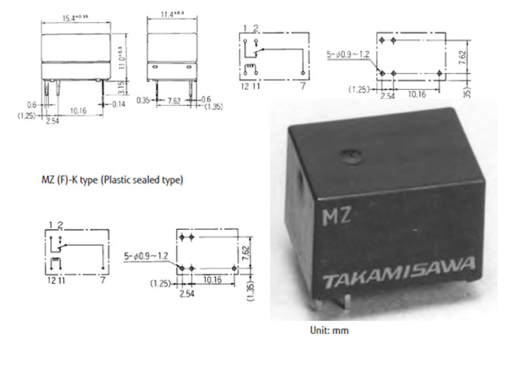RELAY MZ-141-K 1.5V 1A 5P