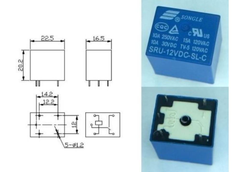 RELAY SONGLE T73 SRU-12VDC-S-L-C 15A 5P
