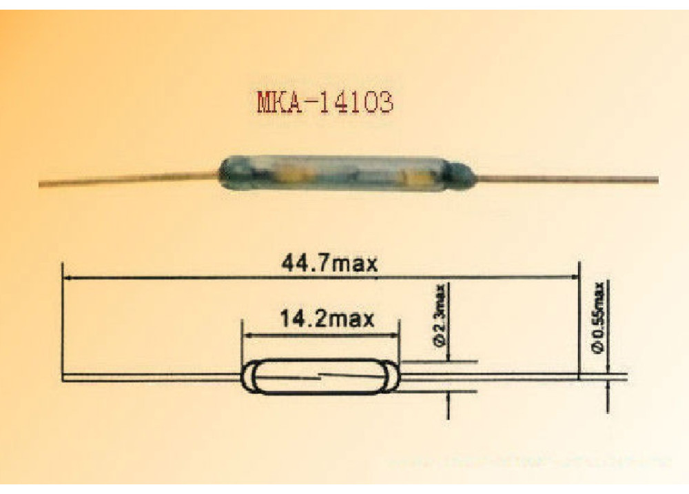 Magnetic Sensor REED SWITCH MKA-14103 14.2x2.3mm
