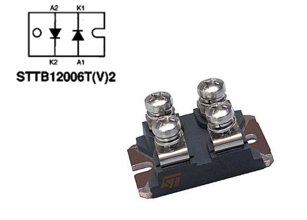 DIODE STTB12006TV2 600V 2x60A 65ns ISOTOP