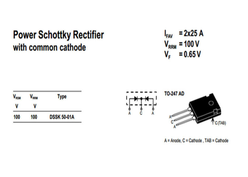 Schottky Diode DSSK50-01A 100V 50A TO-247
