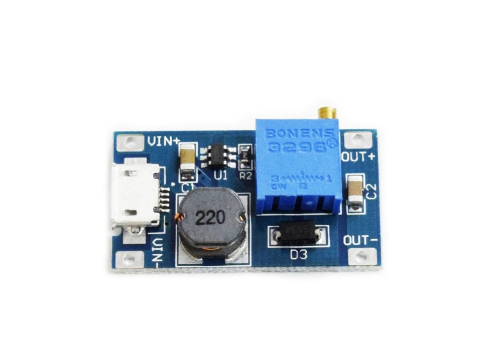 MT3608 DC-DC Step-up Boost Adjustable Module Input 2-24V Output 5-28V Max. 2A Max output current. Micro-USB Input