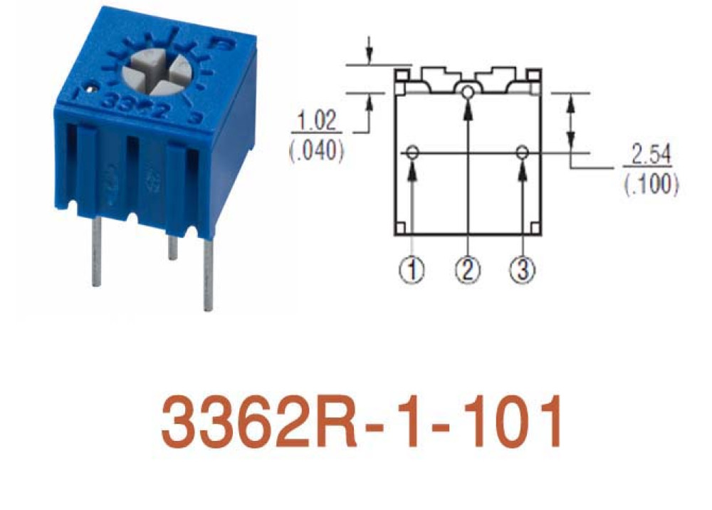 Cermet Trimming Potentiometer 3362R 100R