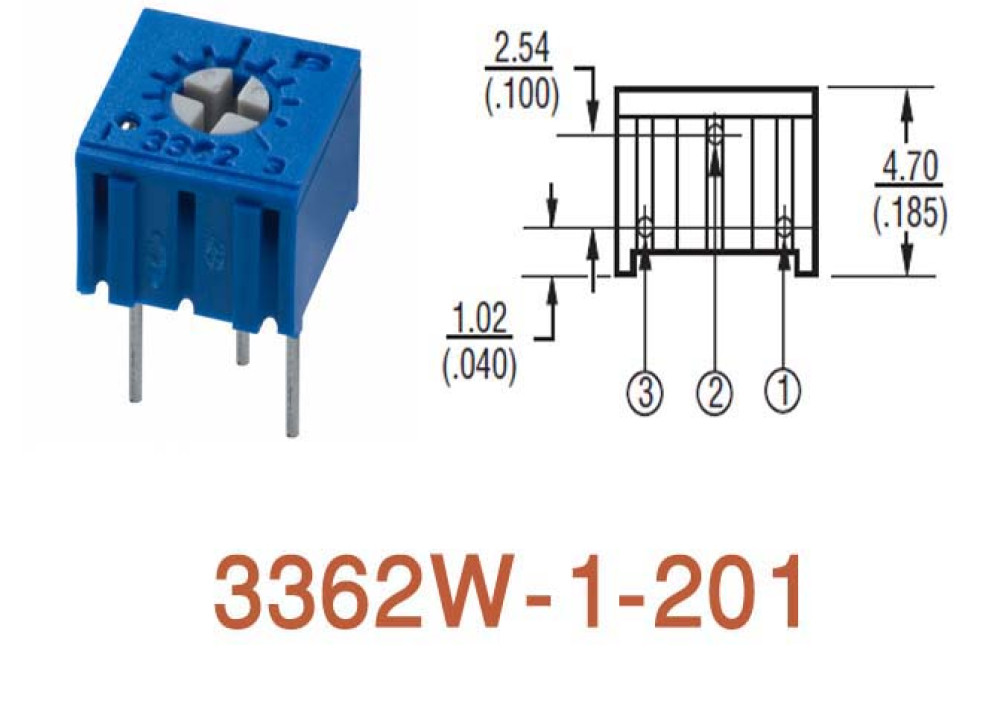 Cermet Trimming Potentiometer 3362W 200R