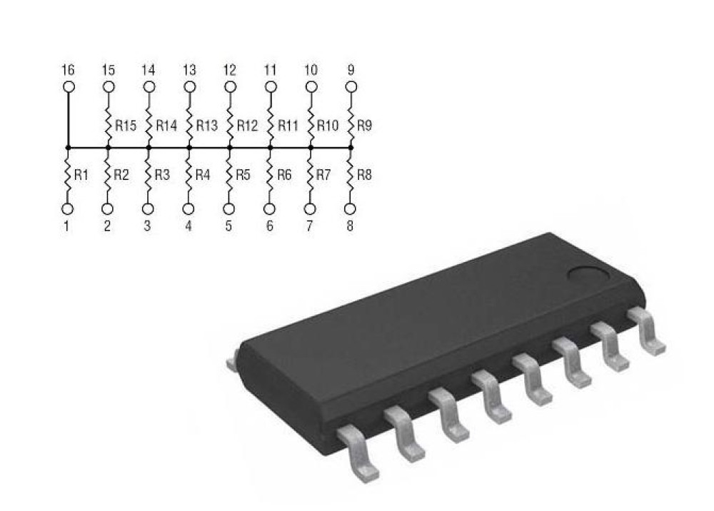 Resistor Network 4816P-002-222 2.2K SOIC-16