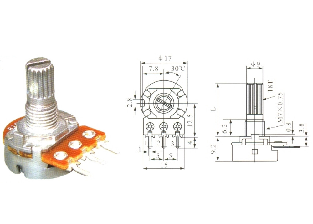 Carbon potentiometer WH148-1A-2-18T-10K-PCB