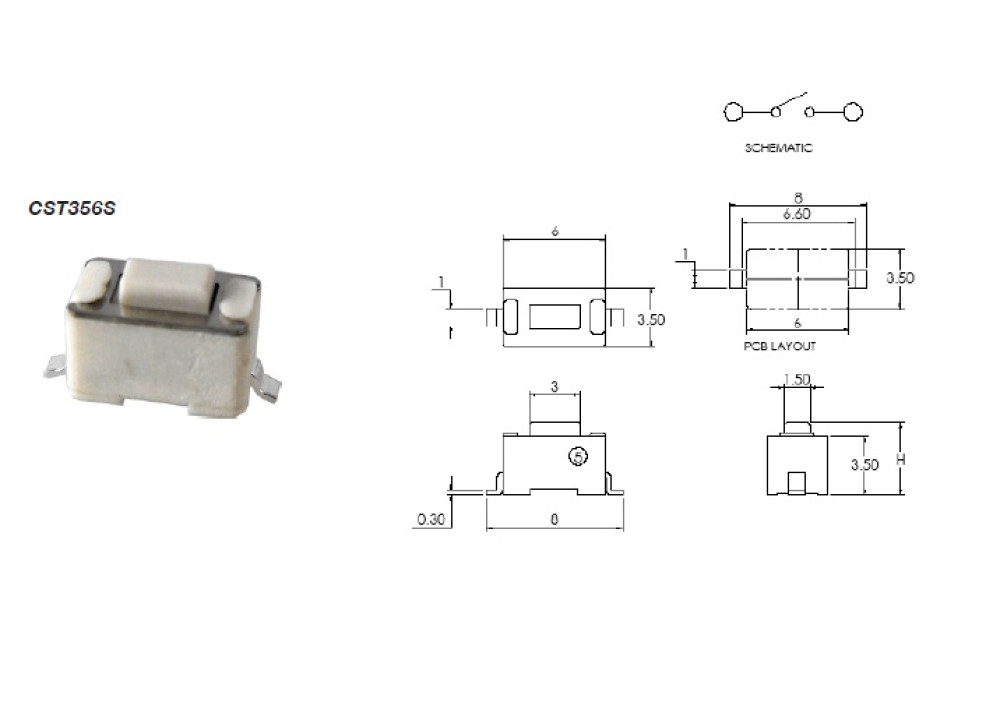 SMD Tact Switch 3.5x6mm 5mm 2P
